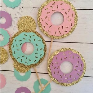 Set of 12 Donut cupcake toppers